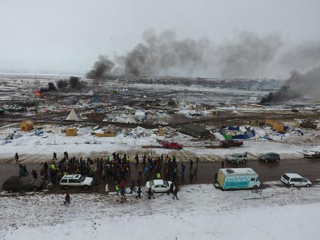 Evacuation of protesters opposing the Dakota Access Pipeline in North Dakota